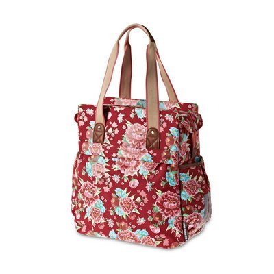 Basil Bloom - shopper - bicycle shopper - 20L - red with flowers