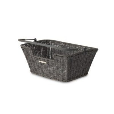 Basil Capri Rattan Look - bicycle basket - gray