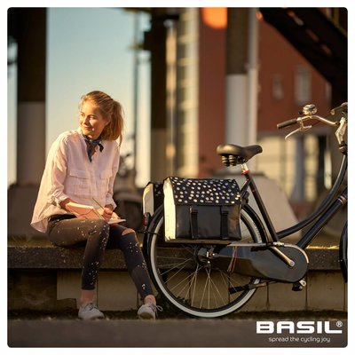 Basil Urban Load - dubbele fietstas - 48-53L - zwart met lichte stippen