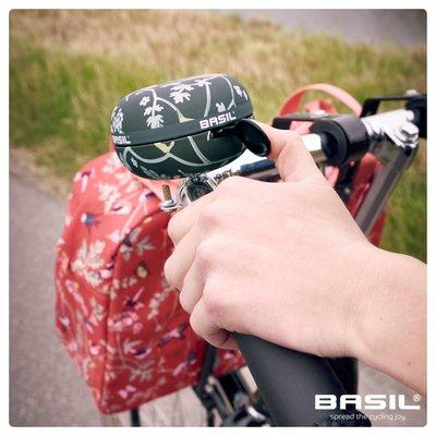 Basil Wanderlust Big Bell - fahrradklingel - 80MM - schwarz mit vogelmuster