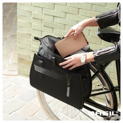 Basil Noir Business bag - bicycle shoulder bag - handbag - 17l - black