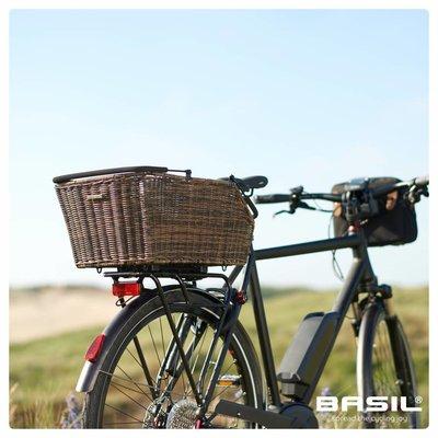Basil Cento - rattan look multi system - fietsmand - achterop - L - bruin