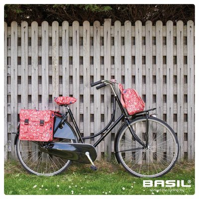 Basil Wanderlust Saddle Cover - zadelhoes - rood met vogelprint
