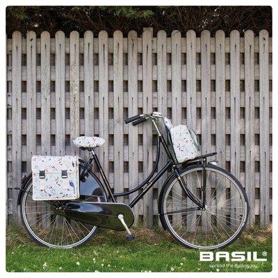 Basil Wanderlust Saddle Cover - zadelhoes - wit met vogelprint