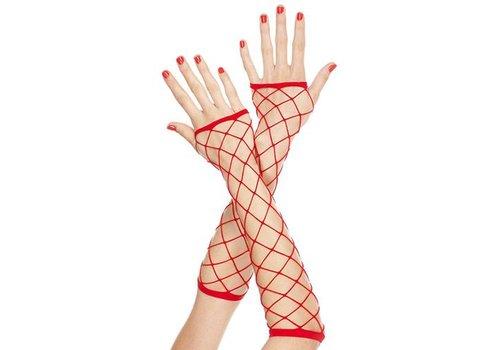 Lange Vingerloze Handschoenen Van Grof Netstof - Rood