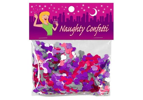 Penisvorm Confetti - Roze/Paars/Zilver