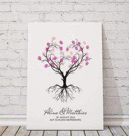 """wedding tree """"Herzbaum"""" Gästebuch auf Leinwand"""