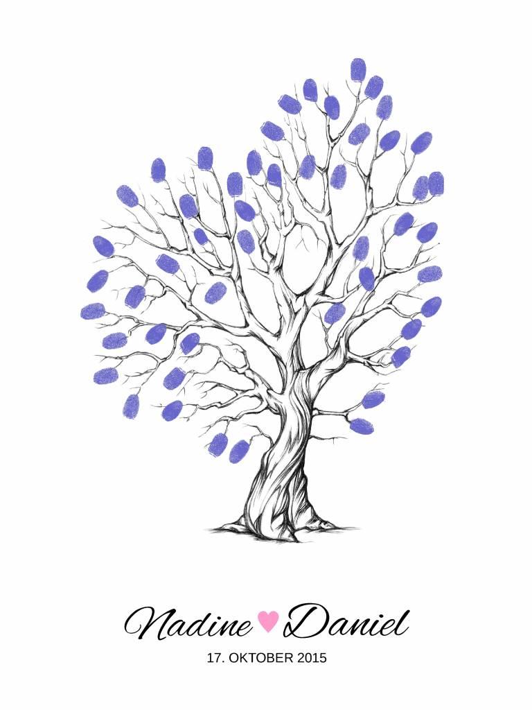 """wedding tree Fingerabdruckbaum """"Baum mit Herzast"""""""