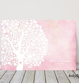"wedding tree ""Herzblattbaum rosa"" Leinwand"