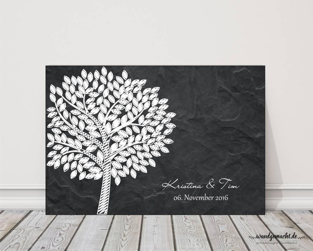 """moderner wedding tree Fingerabdruckbaum """"Schiefer"""" Leinwand"""