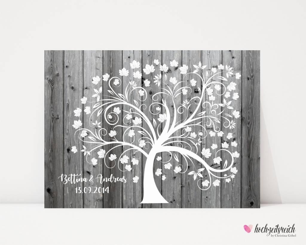 """wedding tree """"Baum auf Holzoptik"""" Leinwand"""