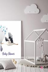 Baby Shower Fingerprint-Set Storch
