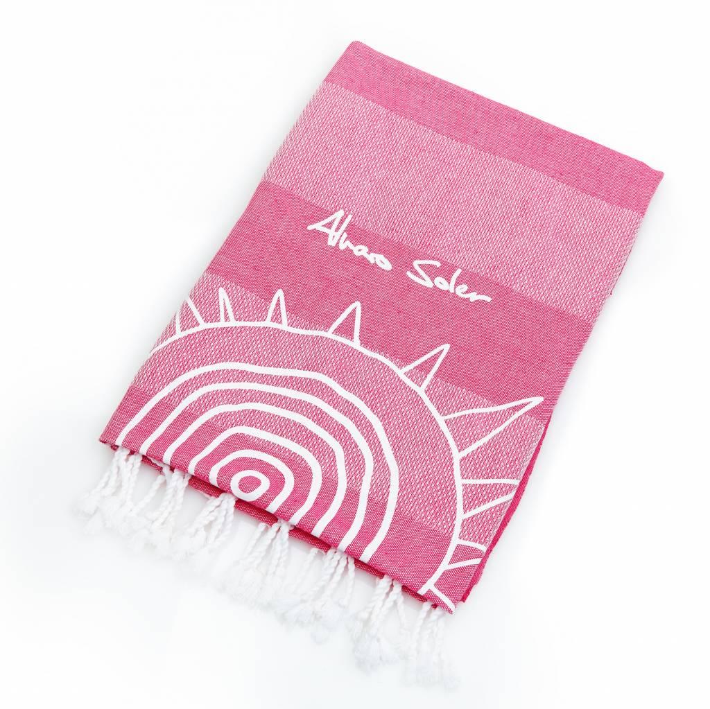 """Beach towel """"El Mismo Sol"""" pink"""