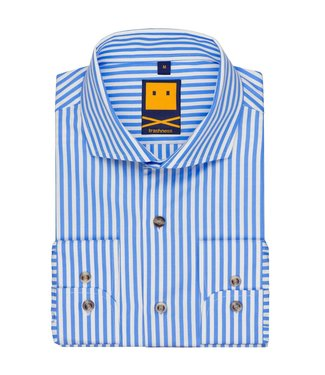 Trashness Spread Collar Striped Blue Shirt