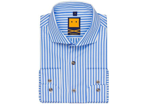 Trashness Spread Collar Striped Blue Shirt