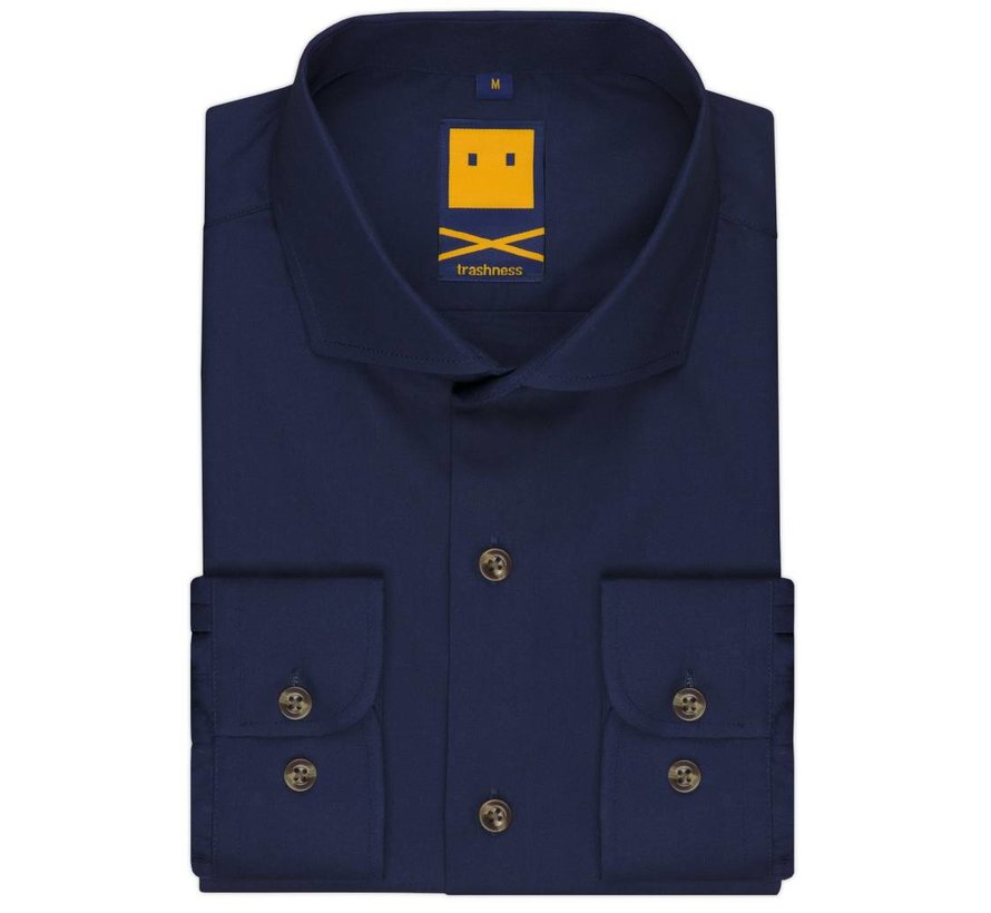 SPREAD COLLAR NAVY SHIRT