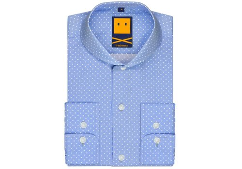 Trashness EXTREME CUTAWAY POLKA LIGHT BLUE SHIRT