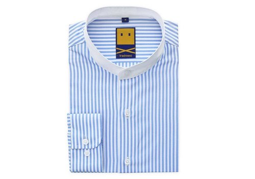 Trashness STRIPED MANDARIN COLLAR SHIRT