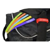 Bagage label set klittenband. 6 st. in verschillende kleuren