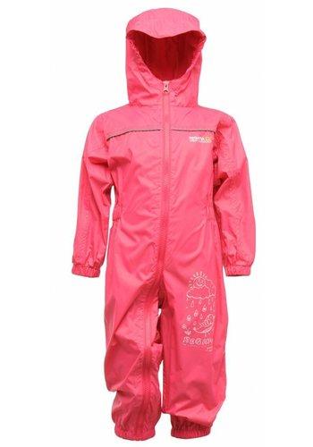 Regatta Kinderregenpak Puddle, roze, ademend en lichtgewicht