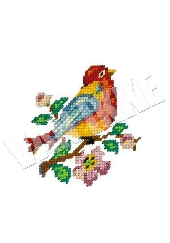 Vanikke Strijk-applicatie geborduurd vogeltje voor overall of t-shirt