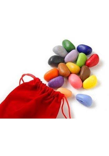 CrayonRocks Soja waskrijtjes 16 stuks in zakje van rood fluweel