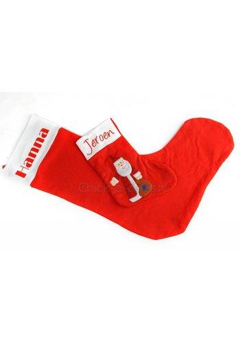 Rode kerstsok, groot of klein, met naam