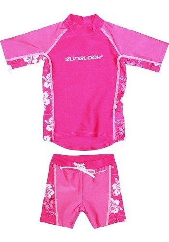 Zunblock Suntop & short hibiscus, roze UPF 50+