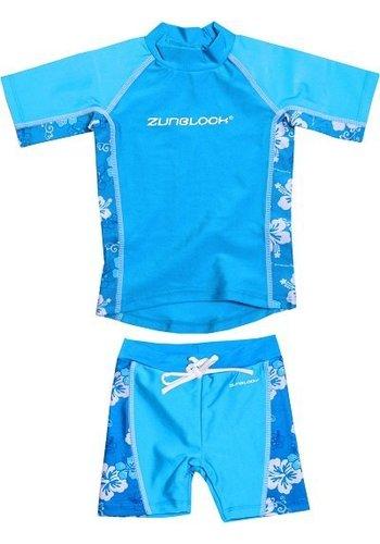 Zunblock Suntop & short hibiscus, turquoise UPF 50+