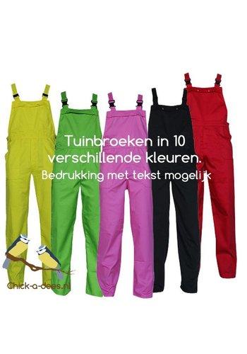 Tuinbroek M/V met tekst bedrukking