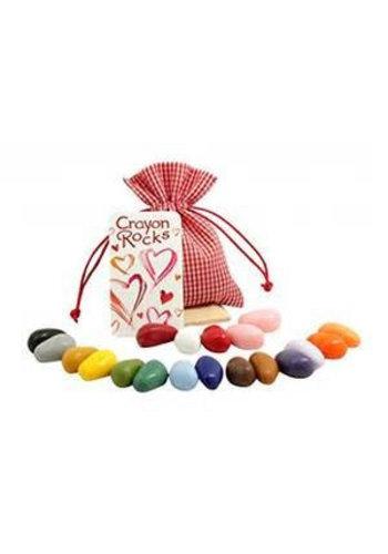 CrayonRocks Soja waskrijtjes 20 stuks in rood geblokt katoenen zakje