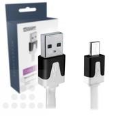 A-DAPT Micro USB-B oplaadkabel plat 1m wit