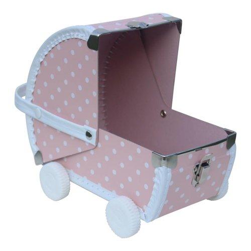Kidsboetiek Kinderwagen roze koffertje