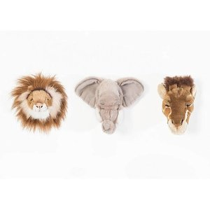Wild and Soft Mini Safari Set van 3 Dierenhoofden , Olifant, Leeuw en Giraf