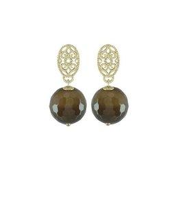 Souvenirs de Pomme Oorbel Helix Bead Taupe