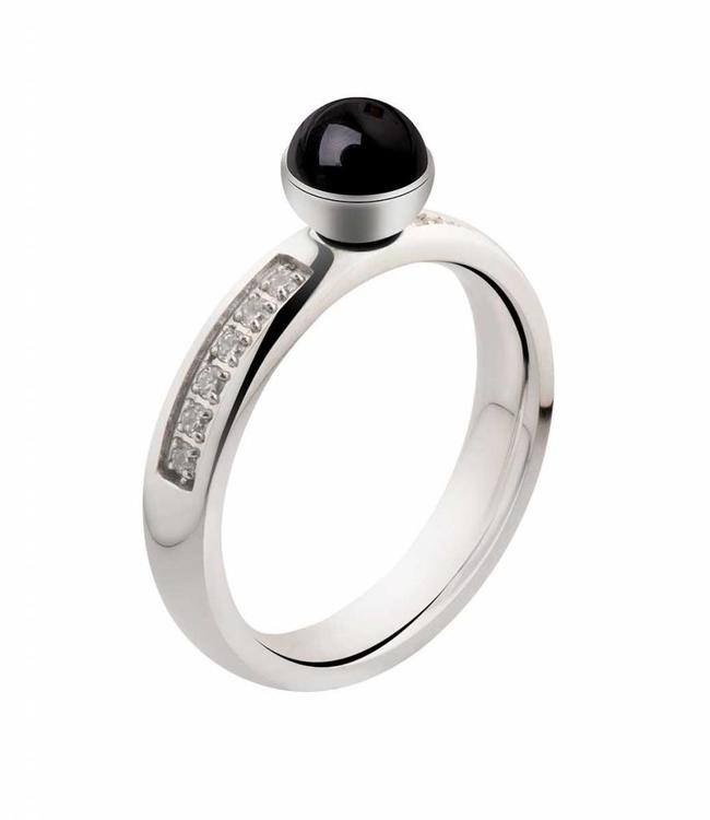 MelanO Twisted ring CZ crystal, Stainless Steel