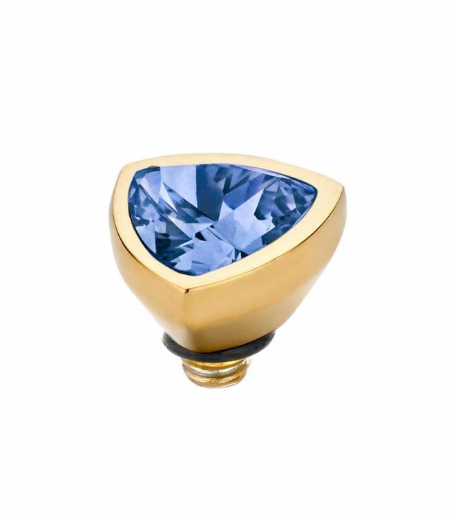 MelanO Twisted Triangel , 08MM G, Jeans BlueDeze MelanO Twisted Triangel, in goudkleur, heeft een steen in Turquoise. Deze zetting heeft een breedte van 8 mm.