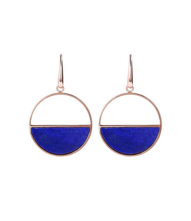 Bronzallure Oorbel Gemstone Disc Blue