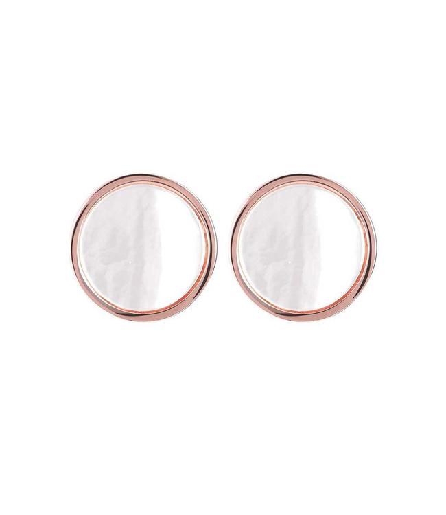 Bronzallure Oorbel Stud Button White