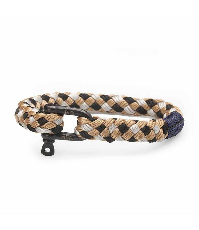 Pig & Hen Pig & Hen - armband Hairy Harry Black-Silver-Camel M