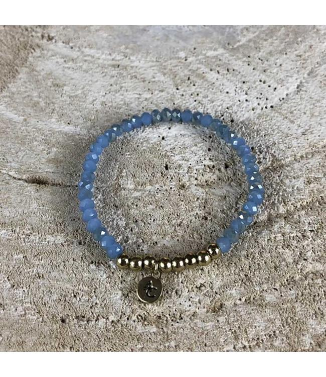 Miracles Armband blue and gold stones