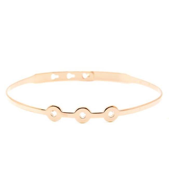 Armband 3 Perforated Circles Pink Gold