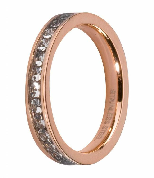 MelanO CZ side rings rose gold, Crystal