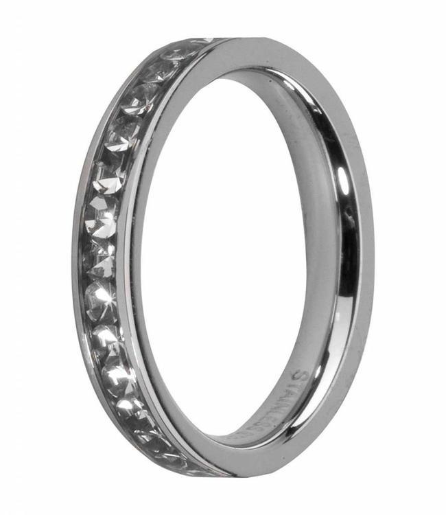MelanO CZ side ring SS, Crystal
