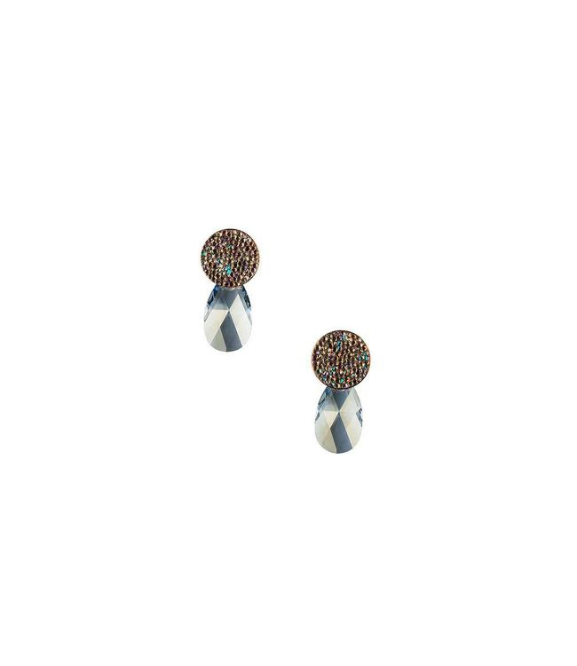Inge Accessori Oorbel Swarovski Drop Blue