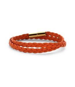Souvenirs de Pomme Armband Dubbel Leder Orange Braid