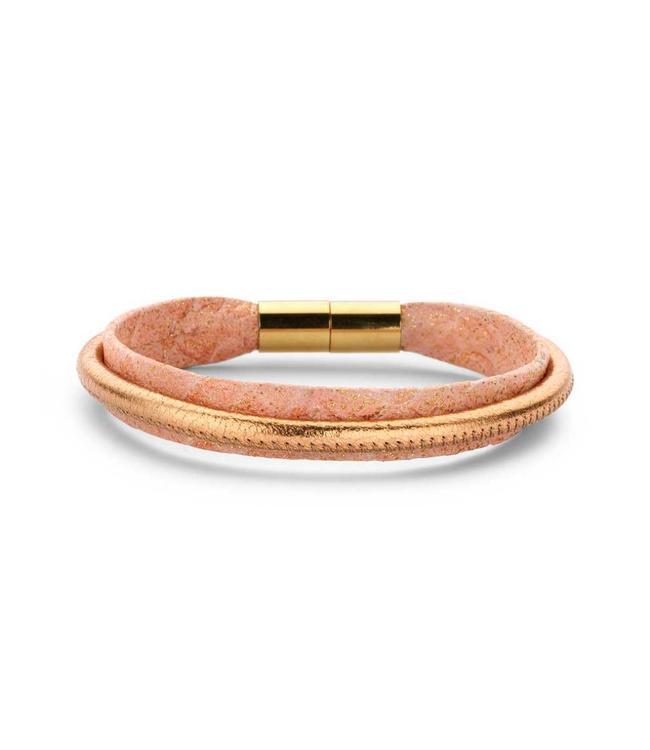 Souvenirs de Pomme Armband leder Peach Sparkle