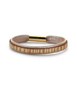 Souvenirs de Pomme Armband enkel leder shimmer blush