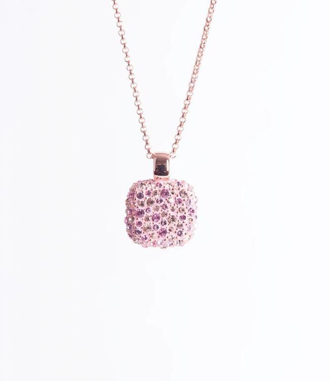 Phantasya Halsketting Crystal Square Pink