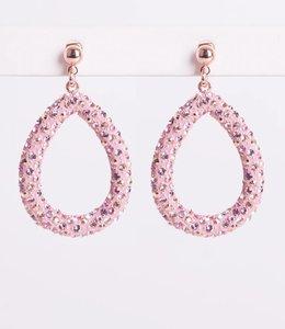 Phantasya Oorbel Crystal Big Drop Pink